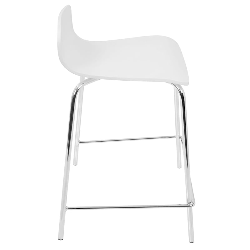 """Stacker White Contemporary Counter Stool, 24"""""""