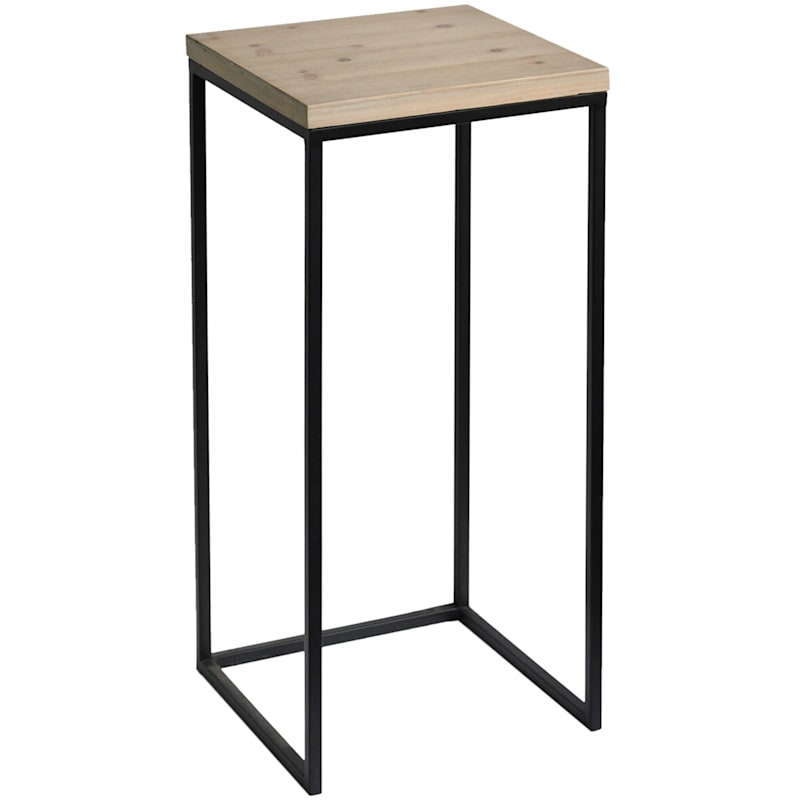 Fiona Wood Top Plant Stand With Metal Base, Medium