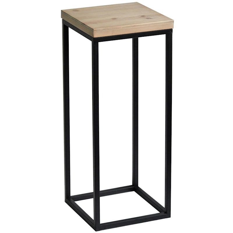 Fiona Wood Top Plant Stand With Metal Base, Small