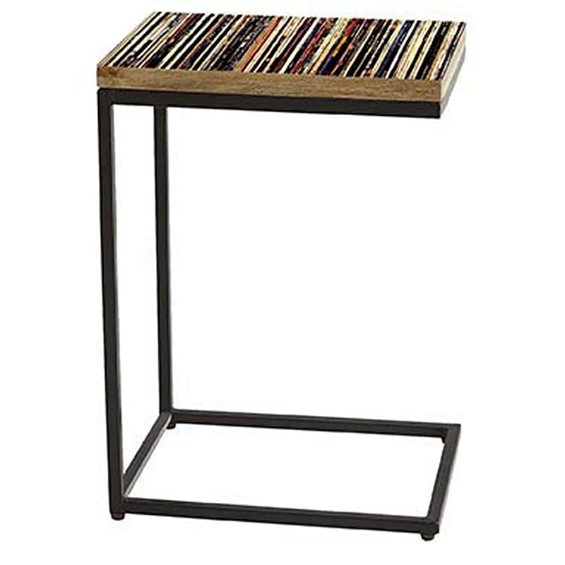 Metal/Wood C-Table with Faux Record Album Collection Top