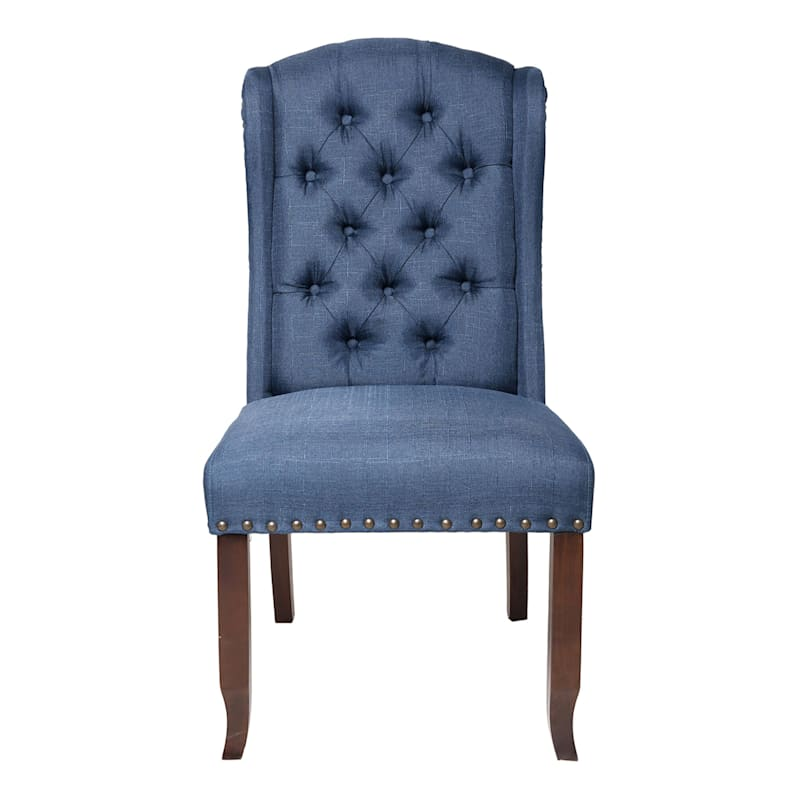 Aahmad Blue Wing Back Tufted Upholstered Wood Dining Chair