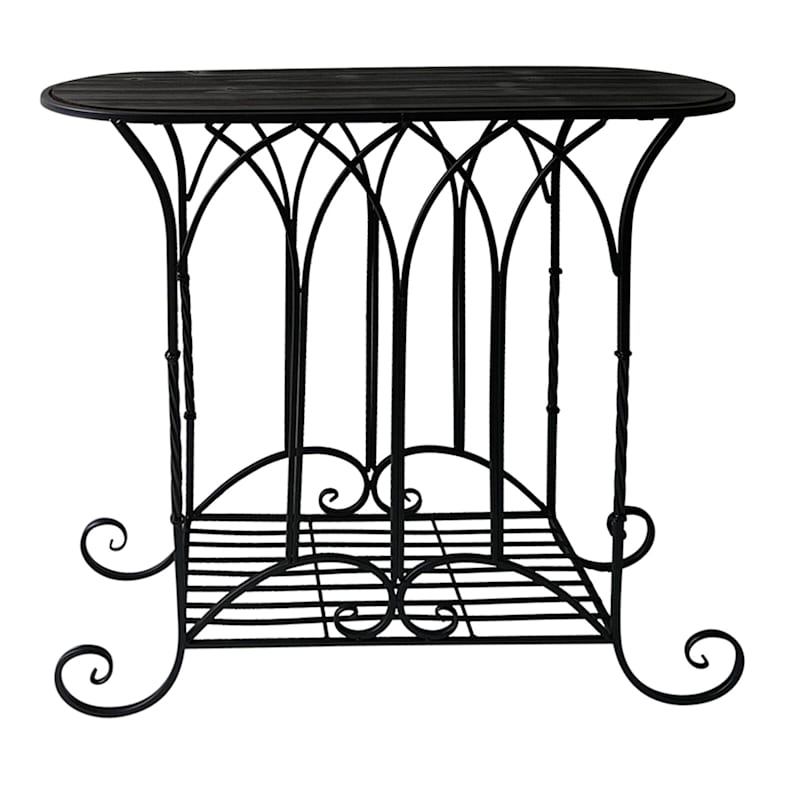 Oval Wood Top Gothic Table With Black Arch Decorative Metal, Large