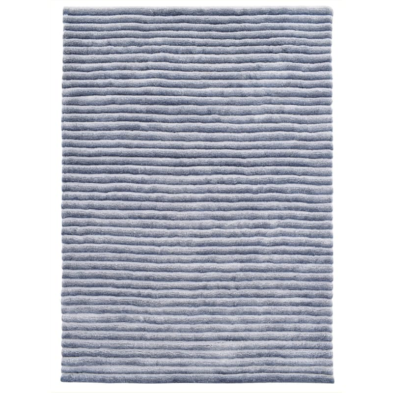 A435 Nappa Microfiber Silver Blue Striped High Low Rug 8x10 At Home