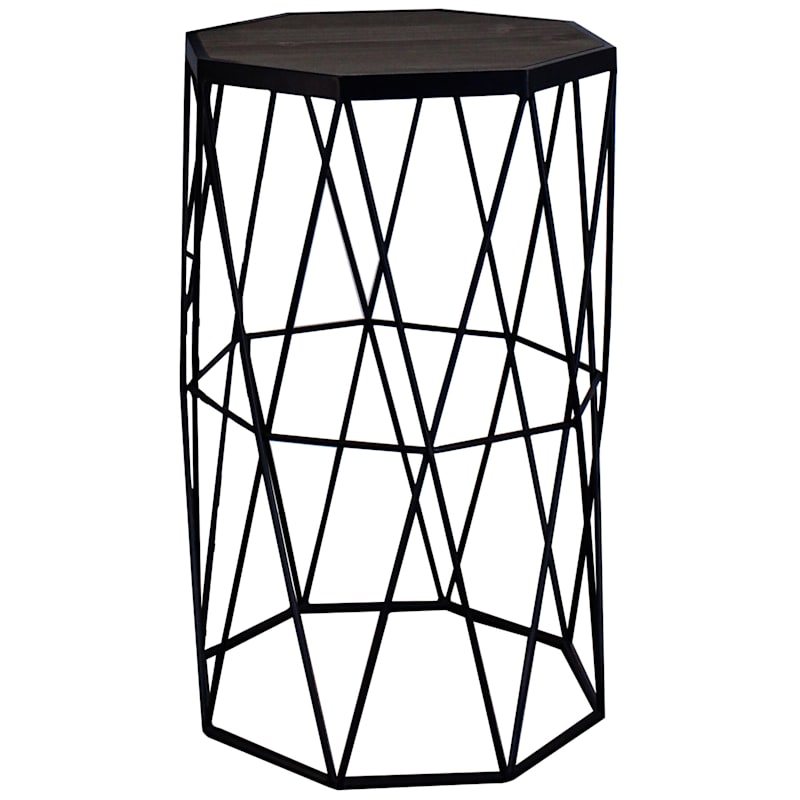 Wood Top Accent Table With Decorative Metal Base, Small