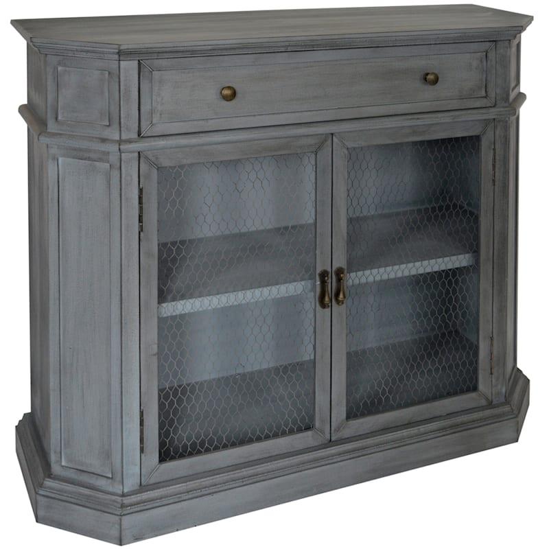 Pamela Blue 1 Drawer 2 Door Wood Cabinet