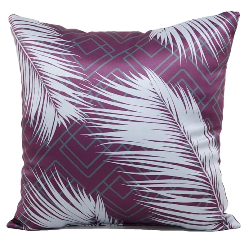 "Feathers & Geo Print Throw Pillow, 18"" x 18"", Purple"