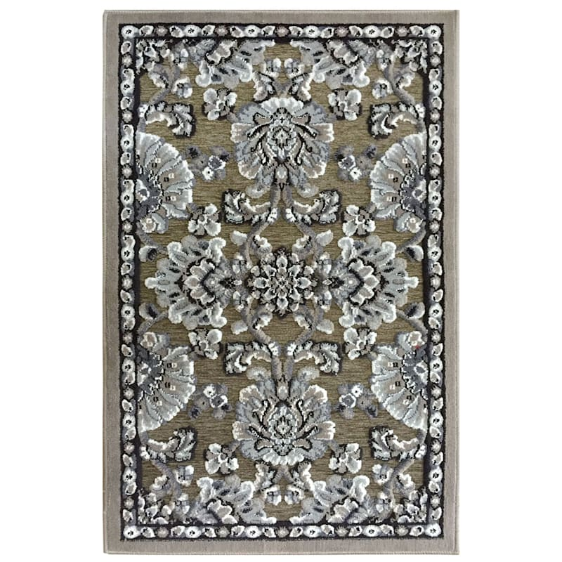 Arrington Damask Chenille High Low Textured Accent Rug Taupe 2x4 At Home