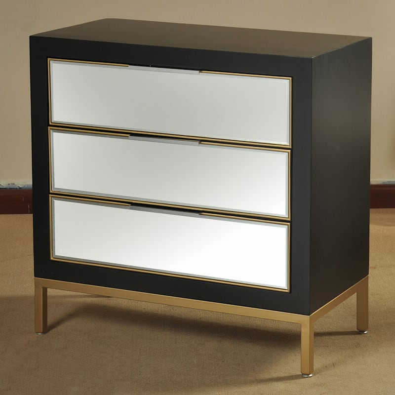 Magnolia 3 Drawer Mirrored Wood Cabinet With Metal Legs
