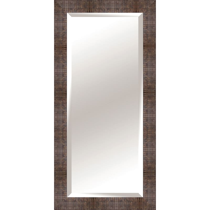 32X66 Rectangle Plastic Ribbed Bronze Floor Mirror