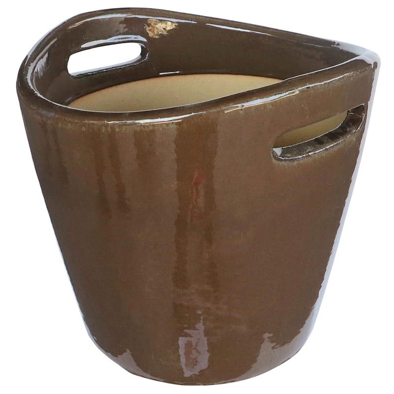 Bushal Ceramic Planter 14in. Brown