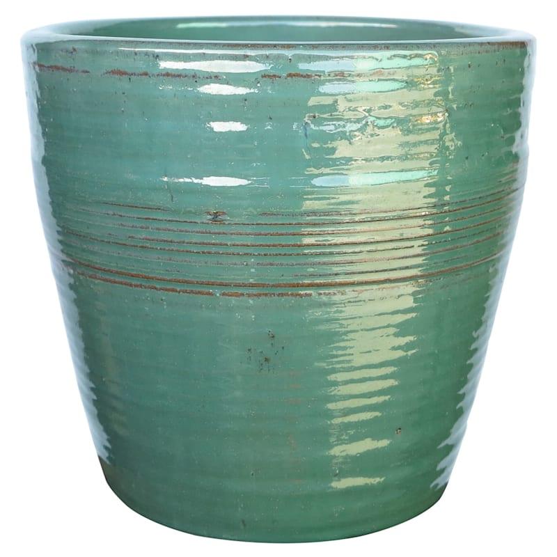 Napoli Ceramic Planter 18in. Green
