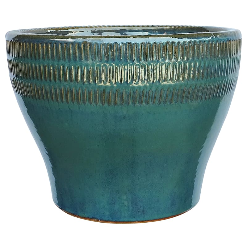Bamboo Bowl Ceramic Planter 18in. Ocean Blue
