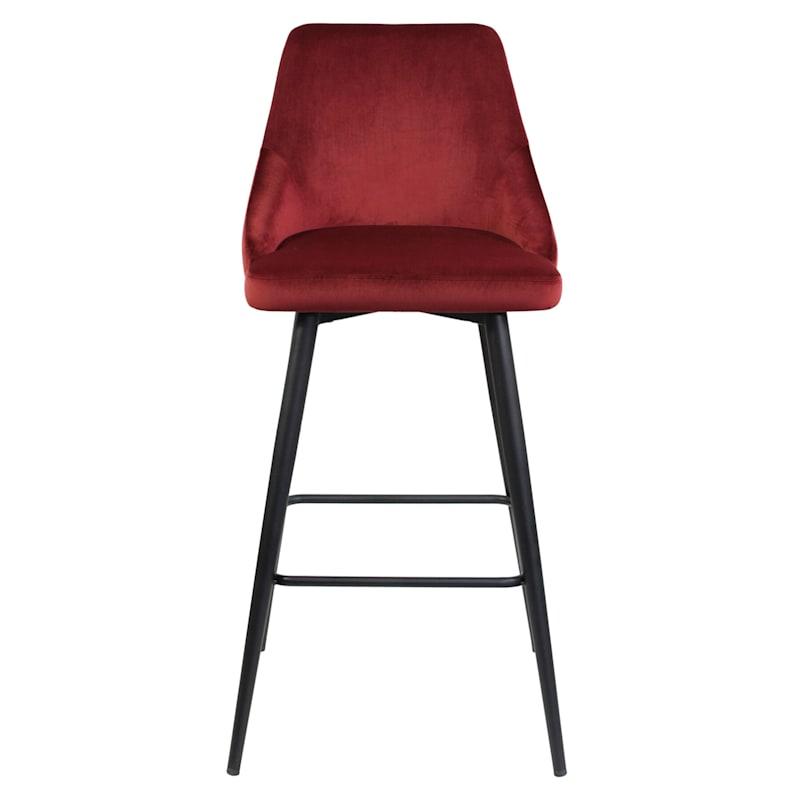 Sabrina Tufted-Back Barstool, Scarlet Red