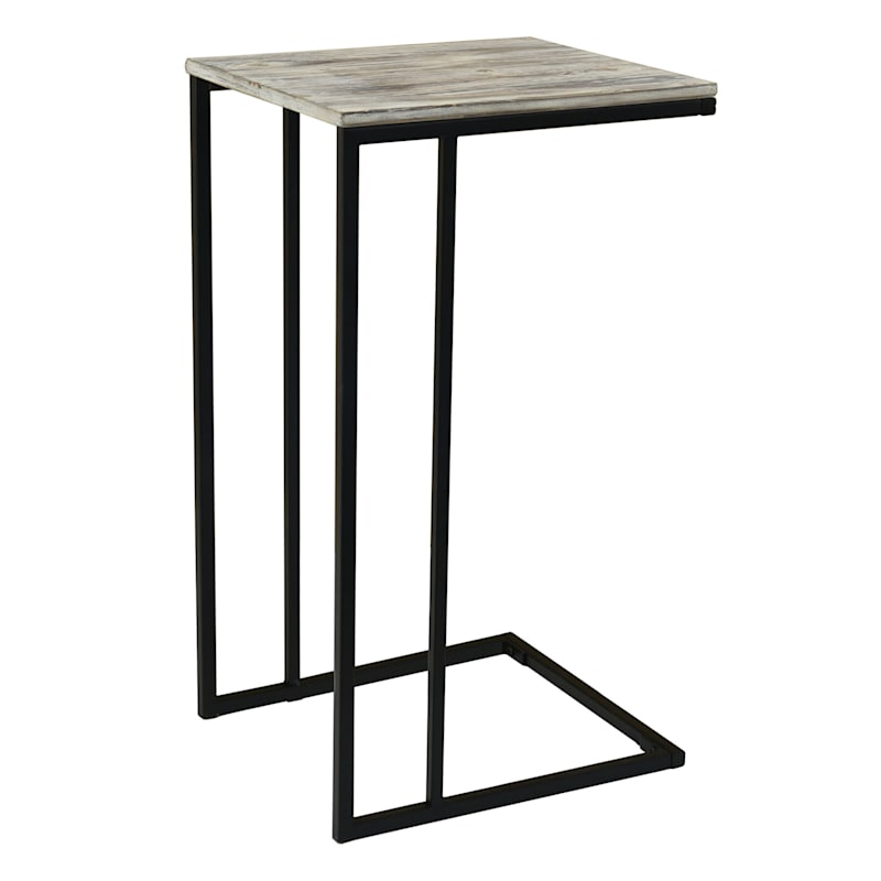 Black Metal C-Table with Rustic Wood Top