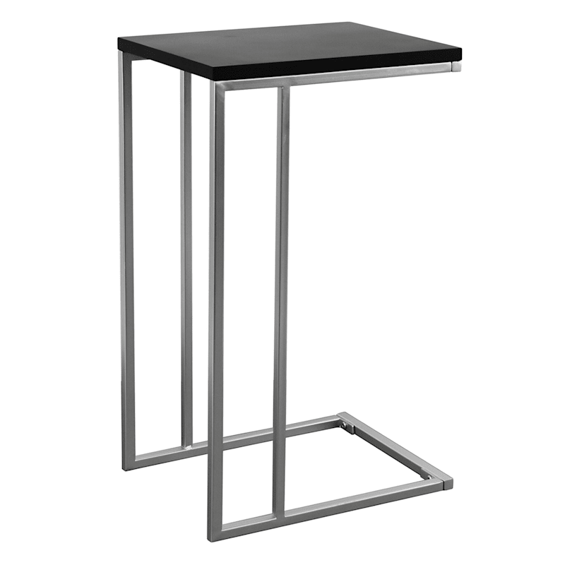 Brushed Silver Metal C-Table with Black Top