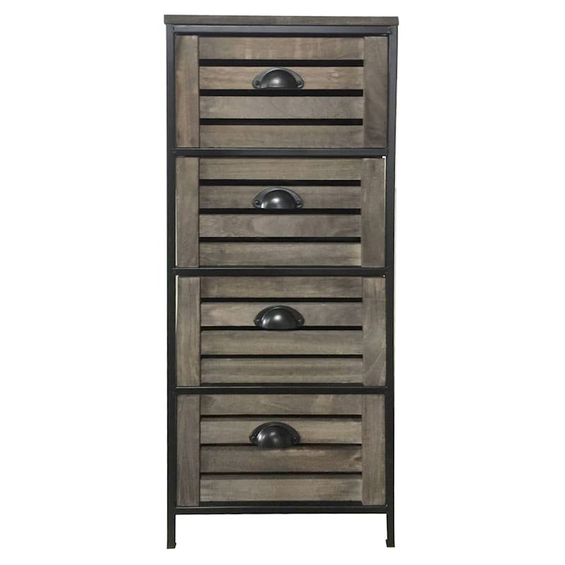 Standing Metal-Frame Cabinet with 4 Wooden Drawers