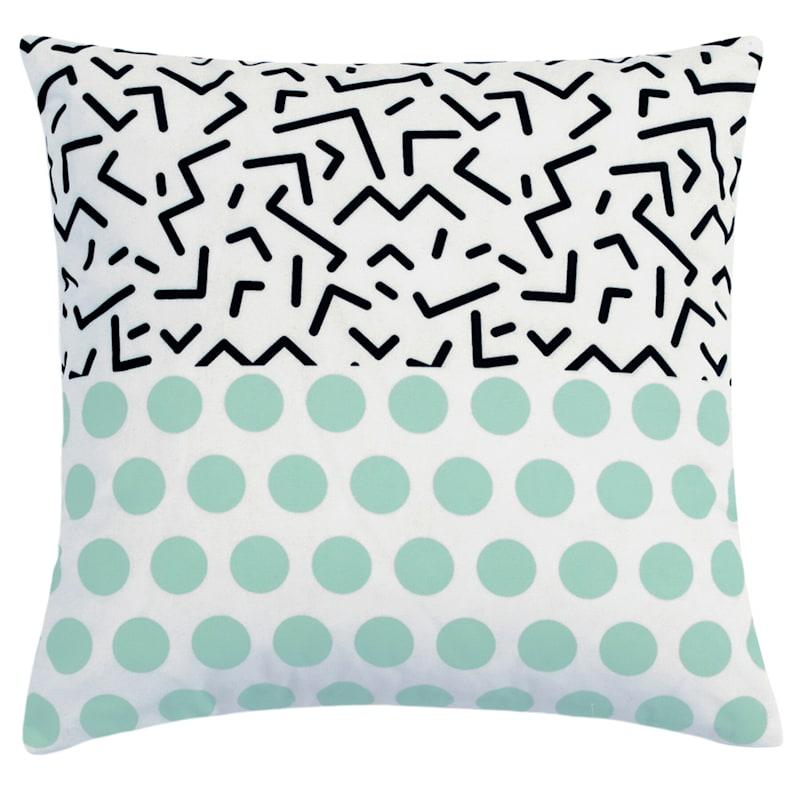 """Haley Geo Throw Pillow, 18"""" x 18"""", Mint Green"""