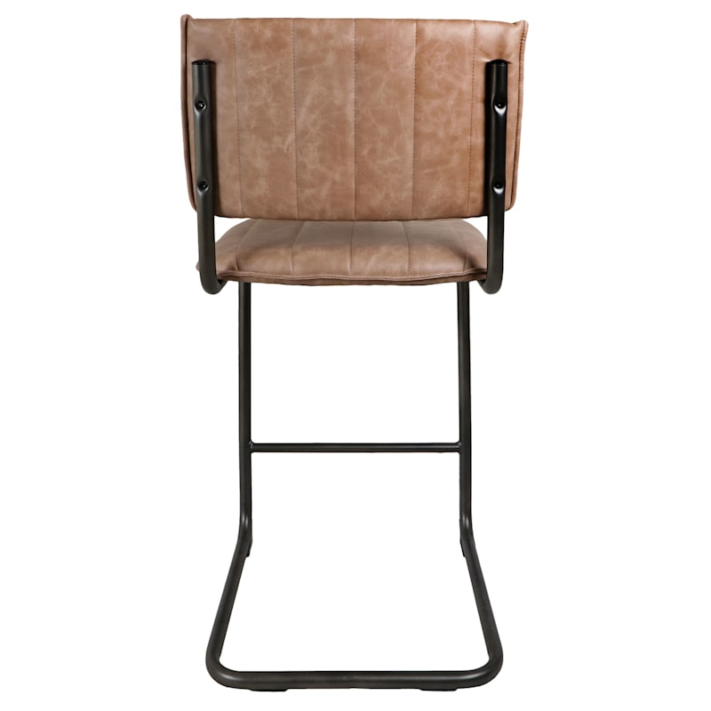 Luka Beige Faux Leather Counter Stool With Metal Base