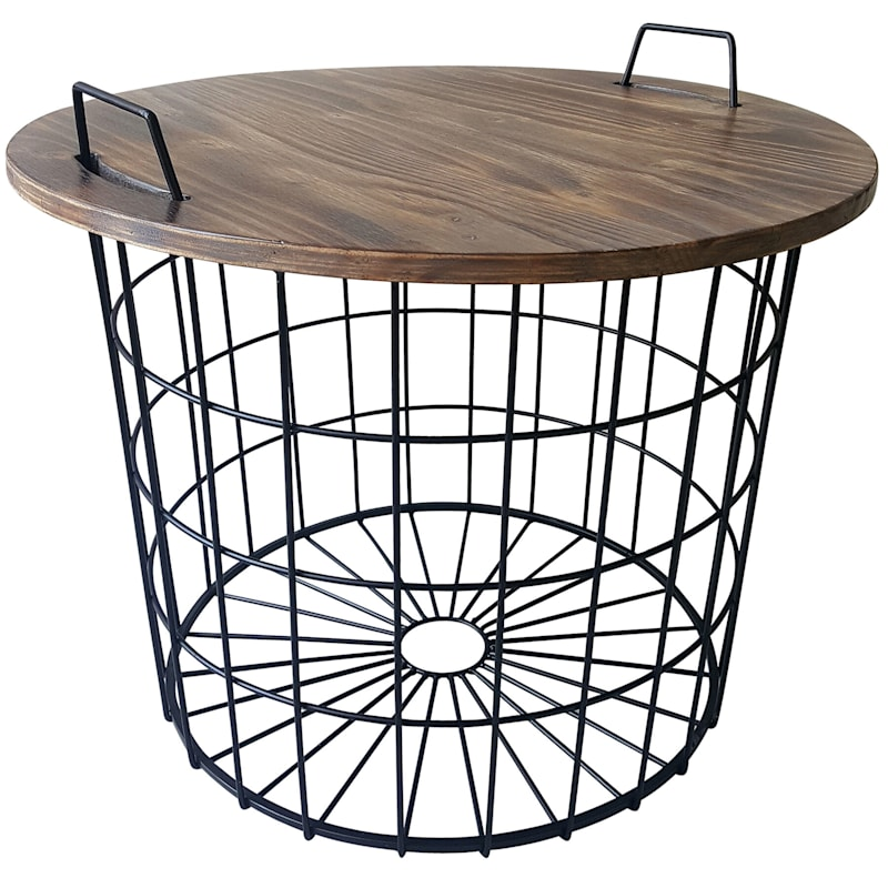 Round Removable Wood Top Table With Wire Basket Base