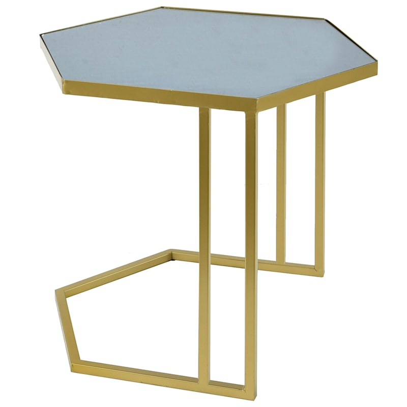 "Deco Metro Gold Metal Geo Table with Black Top, Small (19"")"