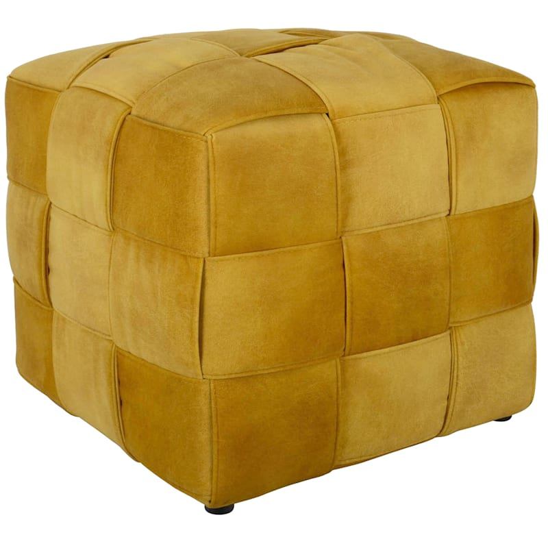 Yellow Basketweave Ottoman
