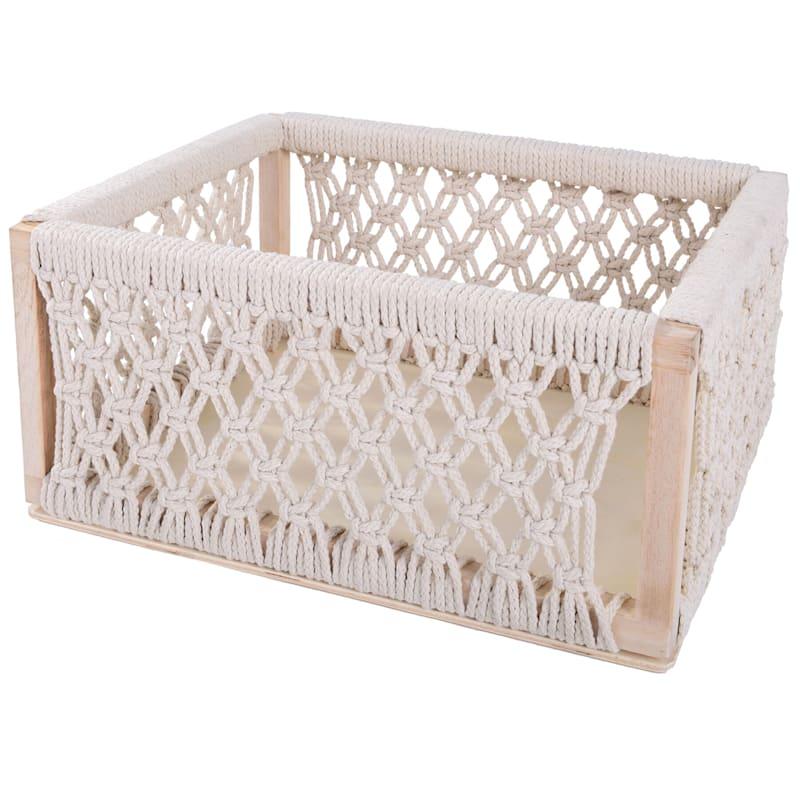 """Boho White Cotton Crochet Bin, Large (15"""")"""