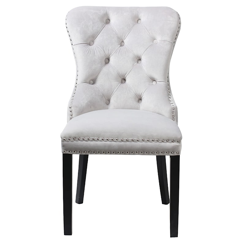 Velvet Grey Tufted Ring Back Chair
