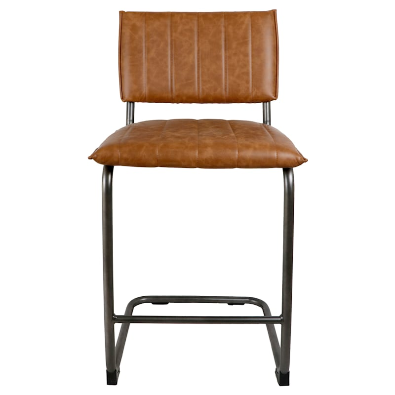 Luka Light Brown Faux Leather Counter Stool With Metal Base