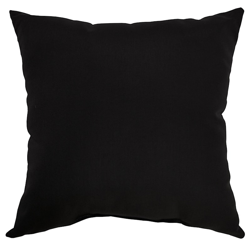 """Black Canvas Outdoor  Square Pillow, 16"""""""