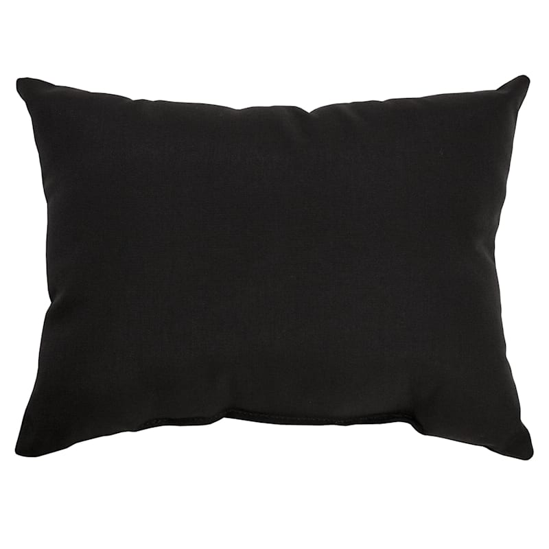 Black Canvas Outdoor Oblong Pillow, 12x16