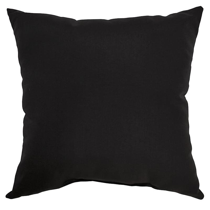 """Black Canvas Outdoor Square Pillow, 20"""""""