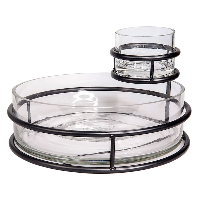 TWO TIERED GLASS SERVER