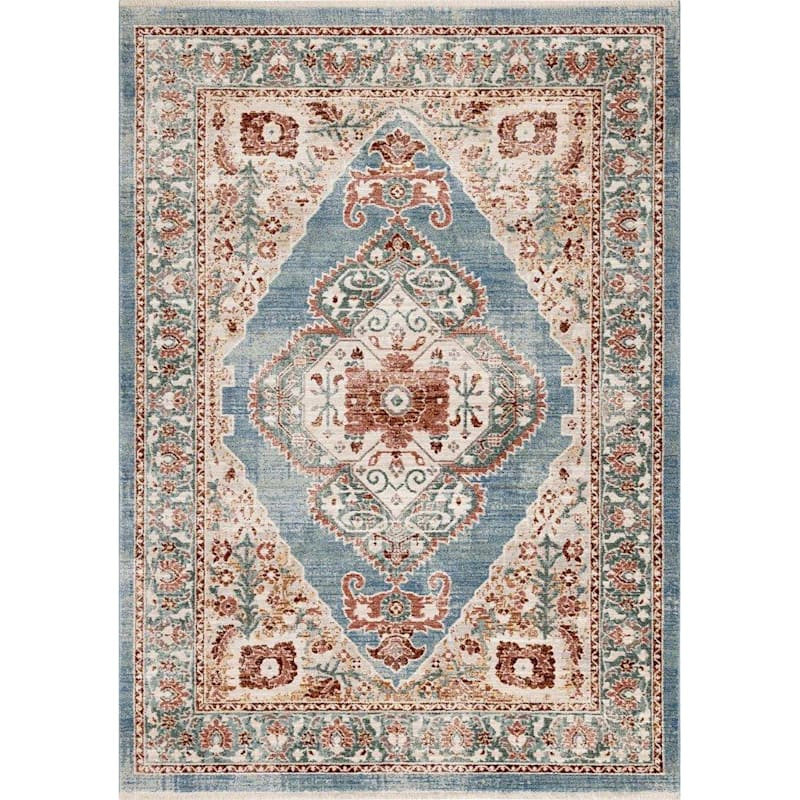 (A441) Venice Multi Colored Blue Dense Open Medallion, 3x5