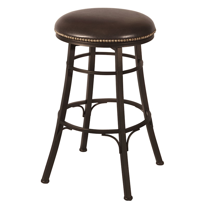 Bali Backless Brown Metal Swivel Barstool with Faux Leather Upholstered Seat