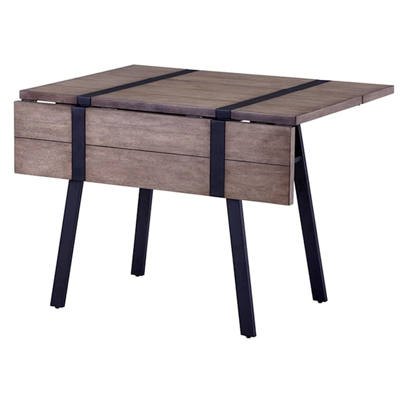 Aubrey Grey & Black Metal Folding Dining Table