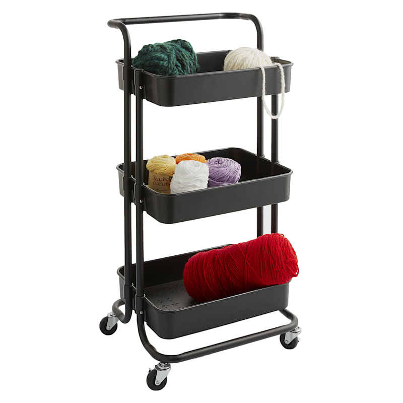 """Black Rolling Cart With Handle, 34"""""""