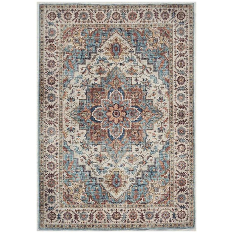 D448 Chenille Printed Vintage Look Blue Medallion Rug 8x10 At Home