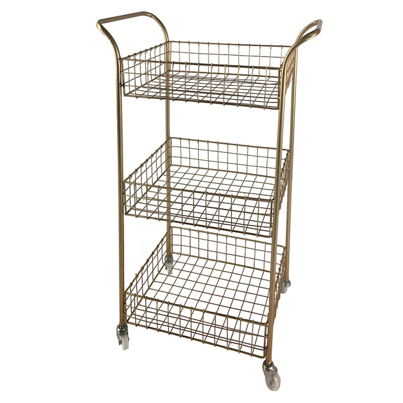 3 Tier Gold Metal Rolling Basket Rack