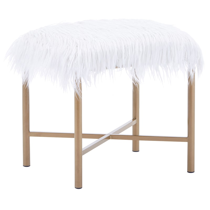 Tracy Cream Faux Fur Bench with Gold Legs