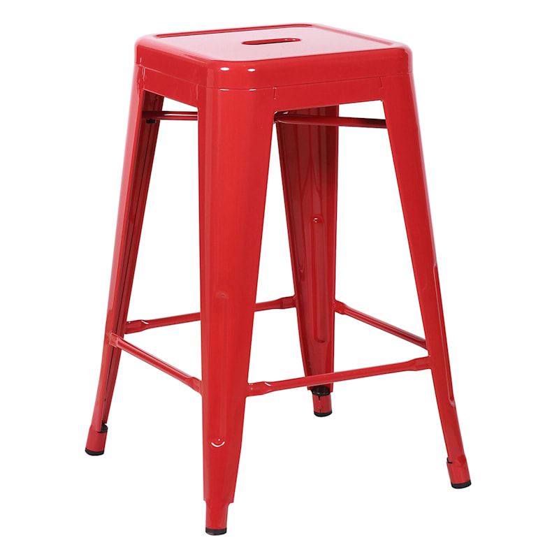 """Red Metal Counter Stool, 24"""""""
