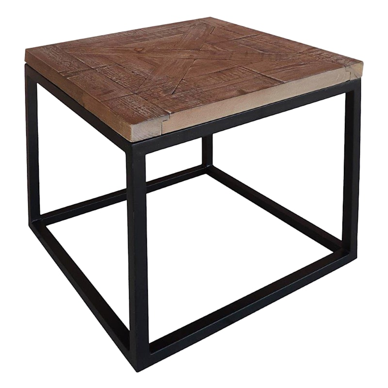 Wood Top End Table With Metal Base Sage Frost