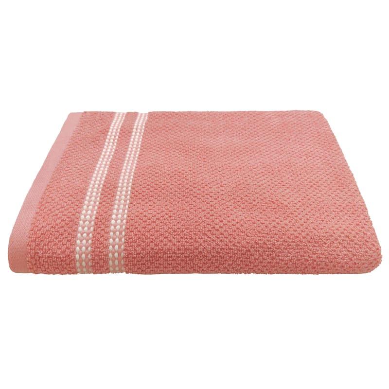 Ellis Coral Dot Border Bath Towel