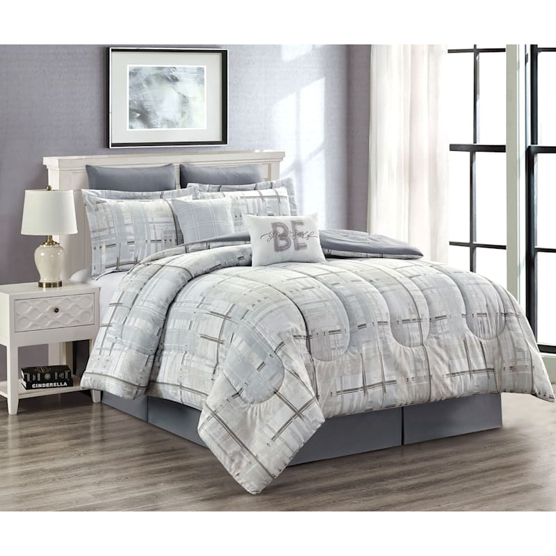 WATER COLOR PLAID 6PC TWIN COMFORTER SET
