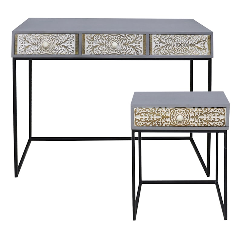 42in. Cinnabar Passage 3 Drawer Wood Top Console Table With Metal Base