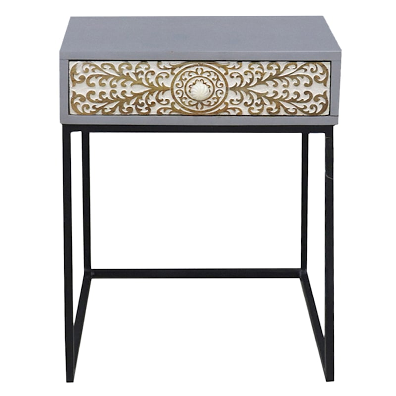 Cinnabar Passage 1 Drawer Wood Top Side Table With Metal Base