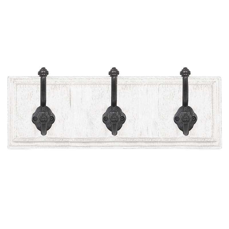 5x15 Distressed White Wood Metal 3 Rustic Wall Hooks At Home
