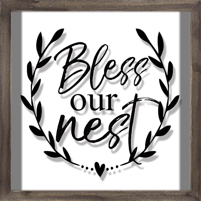 Bless Our Nest Glass Wood Wall Art At Home