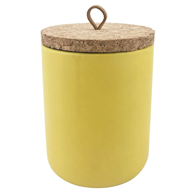 9oz Ceramic Candle With Cork Lid Yellow