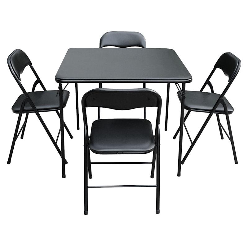 5-Piece Black Folding Card Table Set