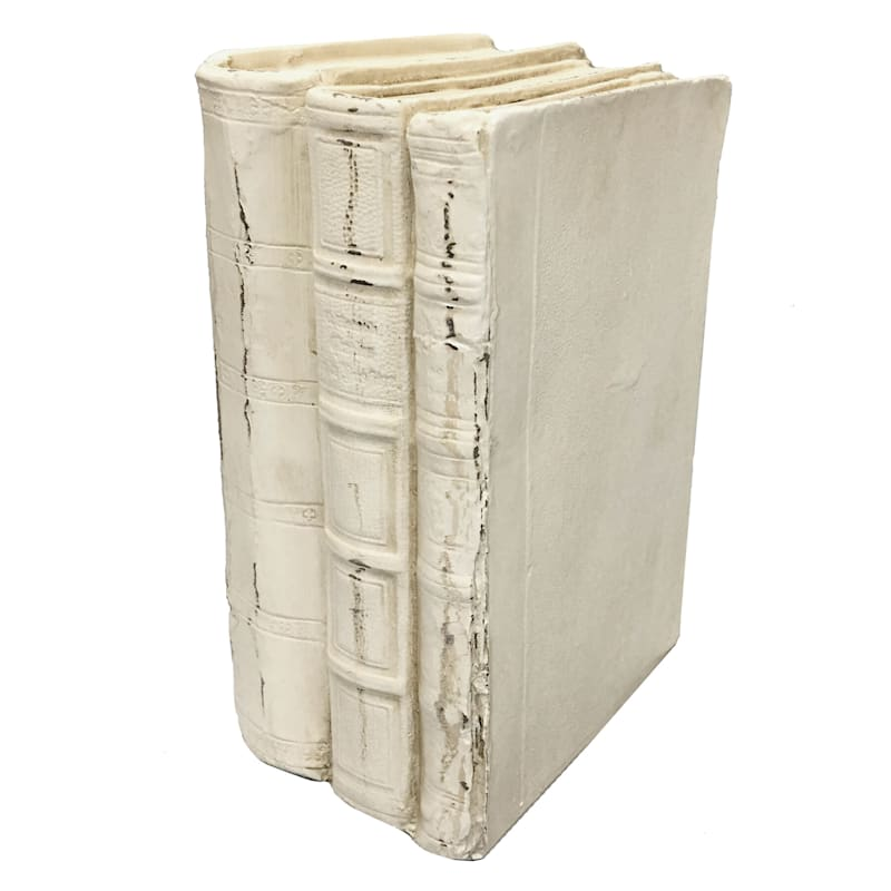 7X5 Resin White Stacked Books